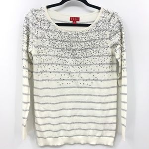Elle Sweater Top Size Small Striped Sequins